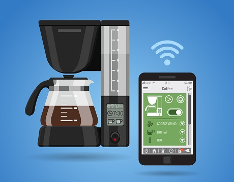 Smart House and internet of things concept. smartphone controls smart home like smart plug and coffee maker flat icons. vector illustration