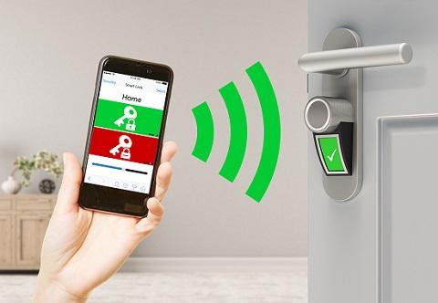 Smart home with smart lock door controlled with smartphone app (3D Rendering)