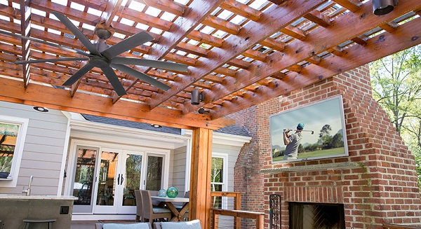 outdoor entertaining space with Beautiful Outdoor Television